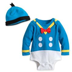 Disney Store Donald Duck Onesie Halloween Costume Bodysuit/Hat Size 9-12 Months