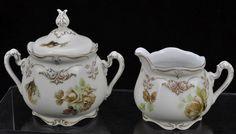 Ohme Old Ivory Porcelain Pattern 84 Brown Rose Sugar and Creamer #HermannOhme