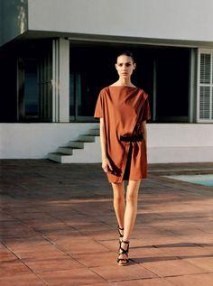 Hermès - Vestiaire d'Eté 2013 DRESS A-symetrical wrap dress and black wedge strap shoes. #hermes #fashion