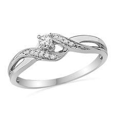 1/8 CT. T.W. Diamond Bypass Promise Ring in 10K White Gold - Zales