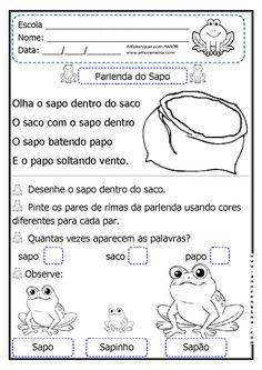Alfabetizar com AMOR: PARLENDA POPULAR - O SAPO NO SACO / DOIS TIPOS DE LETRAS…