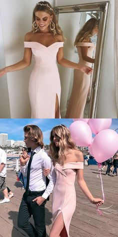 2018 prom dress, pink long prom dress with slit, off the shoulder mermaid long prom dress evening dress party dress