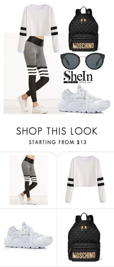 """SHEIN Leggings"" by tania-alves ❤ liked on Polyvore featuring NIKE, Moschino and Prada"