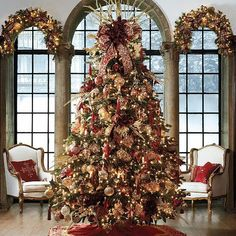 """""""Medici"""" from Frontgate. Christmas Decoration Collections - Holiday Decor Collections - Frontgate - LOVE THIS TREE! Decoration Christmas, Noel Christmas, Winter Christmas, Christmas Tree Ornaments, Holiday Decorations, Xmas Trees, Victorian Christmas Decorations, Victorian Christmas Tree, Country Christmas"""