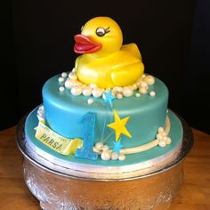 Rubber Ducky Birthday Cake For Kids Baby Birthday Cakes, 1st Birthday Parties, Birthday Ideas, 2nd Birthday, Rubber Duck Cake, Rubber Ducky Birthday, Birthday Cake Decorating, Cake Images, Cakes And More