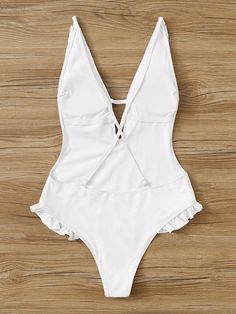 Ruffle Deep-V Criss Cross Backless One Piece Swimwear One Piece Swimwear, Bikini Swimwear, Sexy Outfits, Cute Outfits, Romwe, Summer Bikinis, Bathing Beauties, Lingerie Sleepwear, White Style
