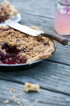 Fourth of July BBQ - Cherry Crumble Pie (I love pies with a crumble crust instead of a pastry one)