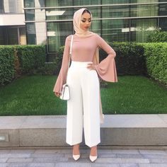 I chose this outfit because I like the color scheme and I like wearing wide, flowy pants as pictured. Modest Fashion Hijab, Modern Hijab Fashion, Casual Hijab Outfit, Islamic Fashion, Hijab Chic, Muslim Fashion, Modest Wear, Modest Dresses, Modest Outfits Muslim