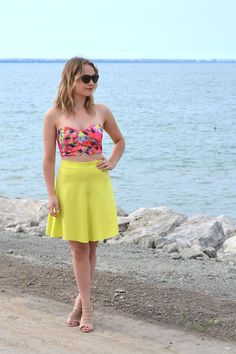 Neon Summer Looks. Pink crop top and neon yellow midi skirt. | www.nellecreations.com