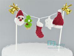 Ручной работы рождественских happy new year party украшения крючком елки Торт Toppers, xmas Партия украшения, Десерт Топпер