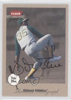 #VIBL Vida Blue. 2002 Fleer Greats - Autographs. Search for more:2002 Fleer Greats - Autographs. Search for more:2002 Fleer Greats. - Featuring theOakland Athletics. -Baseball Card. A: Yes! -Provide condition notes for modern cards if they are in less than Near Mint-Mint condition. | eBay!
