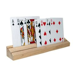 Solid Oak Wood Playing Card Holder - Set of 2   Playing card ...