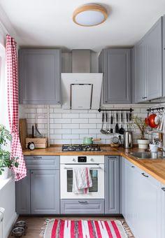 Kitchen Room Design, Home Decor Kitchen, Interior Design Kitchen, Kitchen Furniture, New Kitchen, Home Kitchens, Grey Ikea Kitchen, Small Modern Kitchens, Modern Kitchen Interiors
