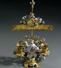 MEISSEN PORCELAIN GILDED BRONZE CANDELABRUM WITH PORCELAIN FLOWERS