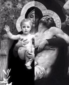 """They are two paintings fused in one of the Painter """"William-Adolphe Bouguereau"""". The one of Christ of Child is called """"The Vierge au Lys (The Virgin of the Lilies)"""" The one of Christ died on the cross is called """"Pieta"""" Catholic Memes, Catholic Art, Roman Catholic, Catholic Easter, Blessed Mother Mary, Blessed Virgin Mary, Religious Icons, Religious Art, Immaculée Conception"""