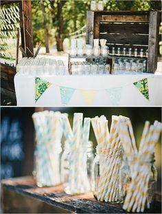 stripe straws and rustic drink station
