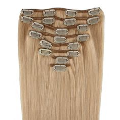 """Beauty7 16-28 Inch Clip in Remy Human Hair Extensions #22 Ash Blonde 8pcs 120g (28""""). Imported & Brand new. Super hold clip in hair extensions. High quality, silky, soft, tangle free. 100% real human hair, can be permed, straightened & washed. 20 clips 8pcs (width: 2 of 8."""