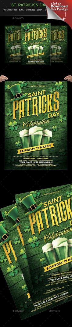bar, beer, carnival, celebration, clover, colorful, festival, fiesta, gold, green, gun, hat, holiday, invitation, irish, mayo, parade, postcard, pub, realistic, restaurant, saint patrick, Saint Patricks Day, shamrock, st. patrick, St. Patrick's Day Party Flyer, vibrant, yellow St. Patrick's Day Party Flyer   Fully layered 1 .PSD (Photoshop Layered File)   Fully editable   8.3×11.7 (+3mm bleed) 300dpi   CMYK, Print Ready   Fonts link attached with main file   Montserrat…