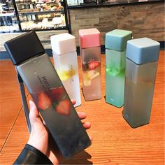 New Square Frosted Plastic Water Bottle Portable Transparent Bottle Fruit Juice Leak-proof Outdoor Sport Travel Camping Bottle (Discount 35 % ) Cute Water Bottles, Plastic Bottles, Drink Bottles, Healthy Water Bottles, Fruit Water Bottle, School Water Bottles, Water Water, Glass Water Bottle, Recycled Bottles