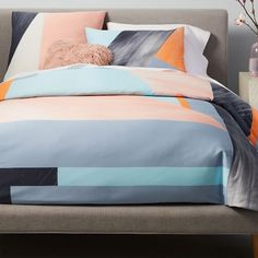 400-Thread-Count Organic Sateen Brushed Collage Duvet Cover + Shams