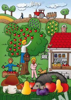 Říjen, tématický obraz Autumn Activities For Kids, Color Activities, Weather For Kids, Art For Kids, Crafts For Kids, Summer Coloring Pages, Oktoberfest Food, Egg Carton Crafts, Preschool Education