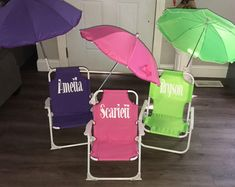 Personalized beach chair for infant or toddler. Folds up and includes attachable umbrella. Every chair comes with a matching bucket*** Please leave name in notes or chair & bucket will be sent blank. Toddler Beach, Folding Beach Chair, Sustainable Forestry, Practical Gifts, Beach Chairs, Folded Up, Personalized Baby, Birthday Gifts, Workshop