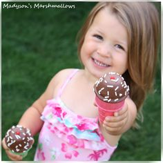 Gourmet marshmallow ice cream cones dipped in chocolate by Madyson's Marshmallows™.  All ideas, photos and information in our shop are Copyright © 2011 BBMA, LLC DBA Madyson's Marshmallows. All rights reserved.
