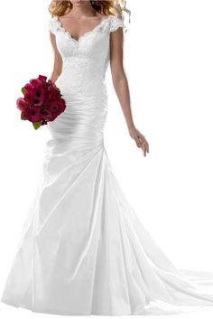 106e0ec8fb30 Angel Bride Hot Sale Dresses Fashion V Neck Mermaid Wedding Dresses Long-  US Size 2 at Amazon Women's Clothing store:
