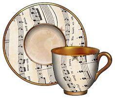 ArtbyJean - Vintage Sheet Music: Set 003 - Vintage Sheet Music Free Clipart Biege Tan - Crockery, tea cups, bowls, buckets, coffee pots, teapots, plates, cutlery