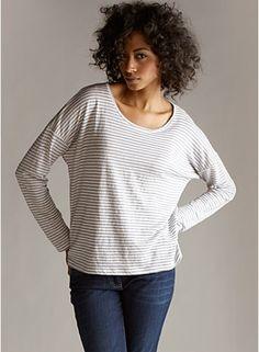 Scoop Neck Box-Top in Linen Jersey Stripe Eileen Fisher