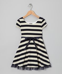 Take a look at this Navy Stripe A-Line Dress - Girls on zulily today!