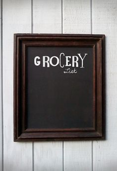 Chalkboard grocery list.