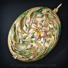 Art Nouveau Enamel Pendant Locket