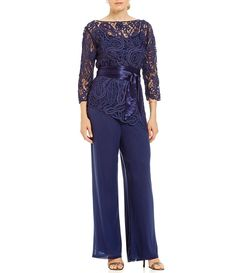 Shop for Soulmates Asymmetrical Baroque Lace Top Bodice Pant Set at Dillard's. Visit Dillard's to find clothing, accessories, shoes, cosmetics & more. The Style of Your Life. Wedding Trouser Suits, Wedding Pants, Pant Suits, Navy Lace Top, Lace Tops, Evening Outfits, Evening Dresses, Fashion Pants, Fashion Dresses