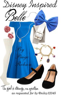 """Disney Inspired: Belle"" by paige-robson ❤ Disneybound Outfits, Disney Princess Outfits, Disney Themed Outfits, Disney Dresses, Disney Clothes, Bella Disney, Cute Disney, Disney Bound Belle, Alice Disney"
