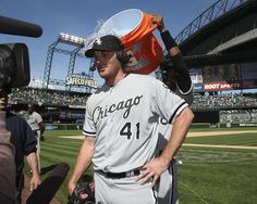 Starting pitcher Philip Humber #41 of the Chicago White Sox is doused with water by a teammate after throwing a perfect game against the Seattle Mariners at Safeco Field on April 21, 2012 in Seattle, Washington. This was the 21st perfect game in Major League Baseball history