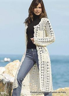 White Crochet Knee-Length Coat. Diagram only of stitch.  No pattern placement so use body measurements.   ☀CQ #crochet #crafts #DIY