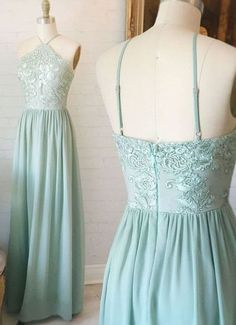 A-Line Prom Dress,V-Neck Prom Dress,Sage Prom Dress,Prom Dresses 2017, Appliques Dress,Cheap Prom Dresses,Open Back Prom Dresses,403