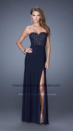 6f0520d0fe32 Navy La Femme 20680 Strapless Sweetheart Side Slit Prom Gown Prom Dresses  2015, Cheap Prom