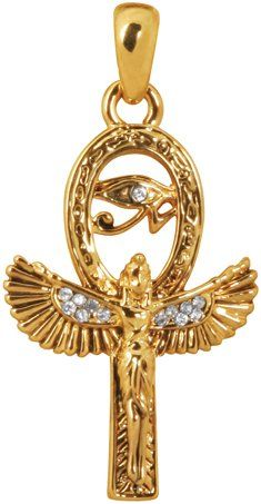 This golden pewter pendant features Isis with her wings spread to form the Egyptian Ankh