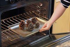 Utiliser une plaque à biscuits vieux pour le travail parce que la sève sur les cônes de pin sera également fondre dans le four.