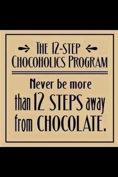 Vinyl wall sticker 12 step chocoholic program - for chocolate lovers 50 cm x 50 Chocolate Humor, Chocolate Quotes, I Love Chocolate, Chocolate Heaven, Chocolate Coffee, How To Make Chocolate, Chocolate Lovers, Chocolate Shop, Chocolate Dreams