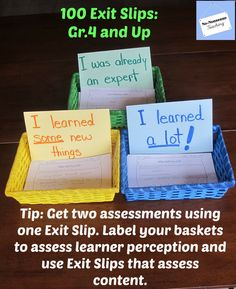 Let your do double duty for you! Change the labels on your baskets to assess your learners' perception about what they have lerned and allow the Exit Slip itself to assess content. Classroom Procedures, Classroom Organization, Classroom Management, Classroom Ideas, Paragraph Writing, Persuasive Writing, Writing Rubrics, Opinion Writing, School Fun