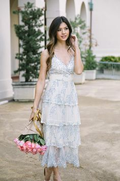 ddb5daa1d6 Shop the Marissa Ivory Tiered Blue Lace Maxi Dress - boutique clothing  featuring fresh
