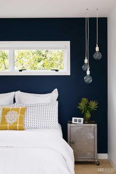 Best Modern Blue Bedroom for Your Home - bedroom design inspiration - bedroom design styles - bedroom furniture ideas - A modern style for your bedroom can be just attained with strong blue wallpaper in an abstract layout as well as formed bedlinen. Blue Accent Walls, Dark Blue Walls, Dark Blue Feature Wall, Green Walls, Dark Navy, Deep Blue, Navy Gold, Accent Colors, Light Blue