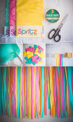 DIY Photo Booth Backdrop with Plastic Tablecloths