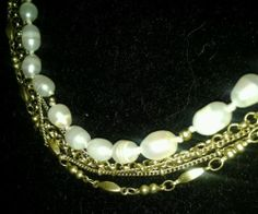 VIntage Monet Faux Pearl Goldtone Chain 5-Strand Choker Adjustable Necklace *sold 12/2013*