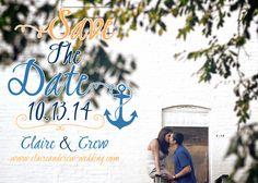 nautical save the dates, save the dates, nautical wedding, save the date magnets, magnet save the dates via Party Box Design, nautical