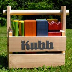 Colorful Kubb Lawn Game with Carrying Case