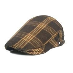 Cotton Flat Cap Gatsby Duckbill Hat Newsboy Ivy Irish Cabbie Scally Cap -  Tweed Soil Yellow c8f82bf9fa43